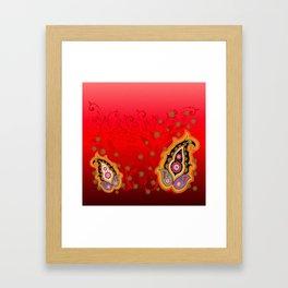 red jewel paisley border Framed Art Print