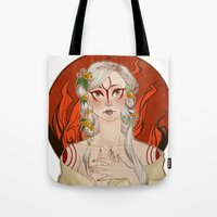 okami Tote Bags featuring Okami: Amaterasu by Laurie 鳳玲