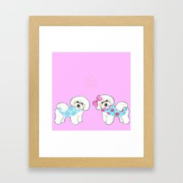 Bichon Frise Dogs in love- wearing pink and blue coats Framed Art Print