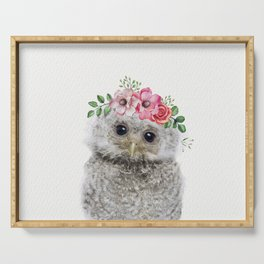 Baby Owl with Flower Crown Serving Tray