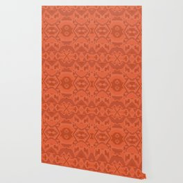 Geometric Aztec in Chile Red Wallpaper