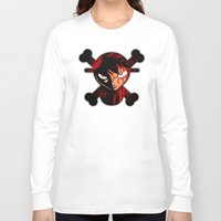luffy Long Sleeve T-shirts featuring BLOODY LUFFY by feimyconcepts05