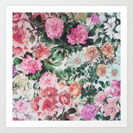 Vintage green pink lavender country floral Art Print