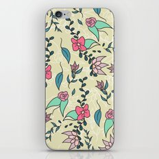 Hand drawn floral pink green blue fall flowers pattern illustration iPhone Skin