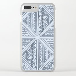 Simply Tribal Tile in Indigo Blue on Sky Blue Clear iPhone Case