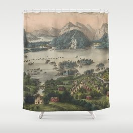 Vintage Lakes of Killarney Pictorial Map (1868) Shower Curtain