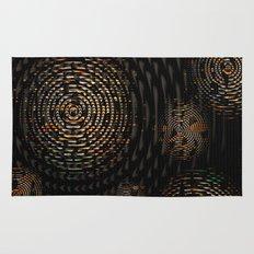 Dark and Orange Circle Weave Pattern Rug