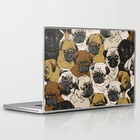 pugs Laptop & iPad Skins featuring Social Pugz by Huebucket