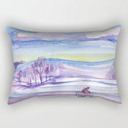Winter bike ride Rectangular Pillow