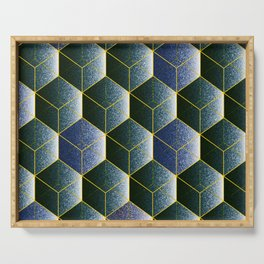 Transparent empty 3D cubes in blue, geometric print Serving Tray