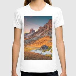 Majestic Sunset and Alpine Mountain Pass Rural Landscape Photograph T-shirt
