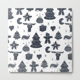 Grey Christmas Objects Decor Metal Print