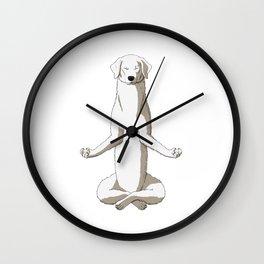 Meditating Kuvasz Dog Wall Clock