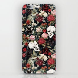 Vintage Floral With Skulls iPhone Skin