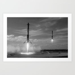 Falcon Heavy Synchronized Landing Art Print