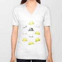 hats V-neck T-shirts featuring Bowler hats by Susana Miranda ilustración