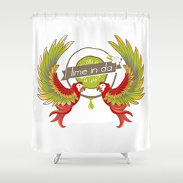 Lime in the coconut and two scarlet macaws. Shower Curtain
