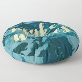 Make Waves in Gold Floor Pillow