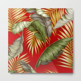 HAWAIIAN GARDEN TROPICAL LEAVES | tomato red gold Metal Print