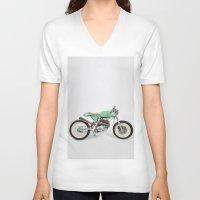cafe racer V-neck T-shirts featuring Café Racer par Choppersteel by David Bascuñana