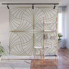 Diamond Series Inter Wave Gold on White Wall Mural