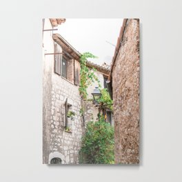 French alley peek-trough   Old South European brick houses in cute town   Travel photography in France Metal Print