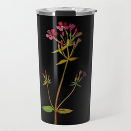 Phlox Carolina Mary Delany Vintage British Floral Flower Paper Collage Black Background Travel Mug