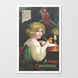 Christmas girl, writing a letter to Santa Claus, was painted by Ellen Clapsaddle Canvas Print