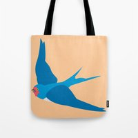 swallow Tote Bags featuring Swallow by Graeme Luey