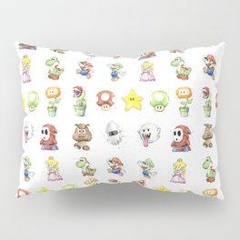 Mario Characters Watercolor Geek Gaming Videogame Pillow Sham