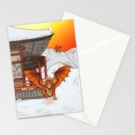 Orange dragon at a snowy shrine Stationery Cards