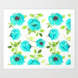 Aqua poppy Art Print