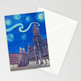 Starry Night In Munich - Van Gogh Inspirations with Church of Our Lady and City Hall Stationery Cards