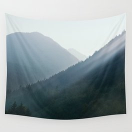 Hazy Days in Mountain Ranges Wall Tapestry