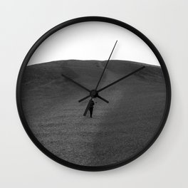 Moon Surface // Hiking up the Black Hills in a Desolate Landscape Wall Clock