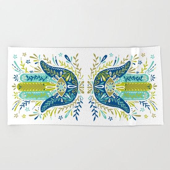 Hamsa Hand – Lime, Turquoise & Navy Palette Beach Towel