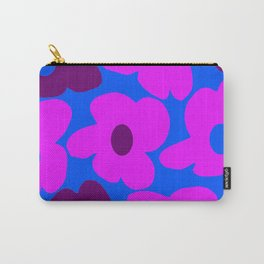 Large Pink and Purple Retro Flowers Blue Background #decor #society6 #buyart Carry-All Pouch