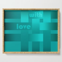 A satin ribbon .Turquoise background . With love. Serving Tray