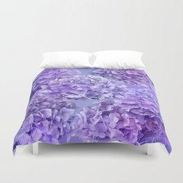Painterly purple blue hydrangea flowers Duvet Cover