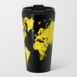 Yellow and black world map Travel Mug