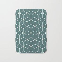 Cube Geometric 03 Teal Bath Mat