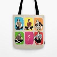 """band Tote Bags featuring """" Rainbow band """" by Karu Kara"""