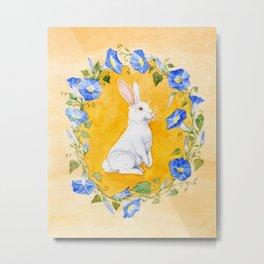 White Rabbit in Blue Flowers Metal Print