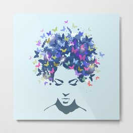 Woman with the hair made of butterflies Metal Print