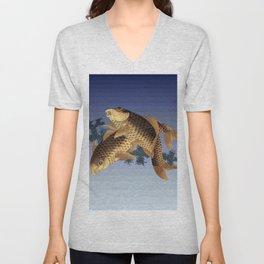 Hokusai – two carps -葛飾 北斎,engraving,carpa, fish. Unisex V-Neck