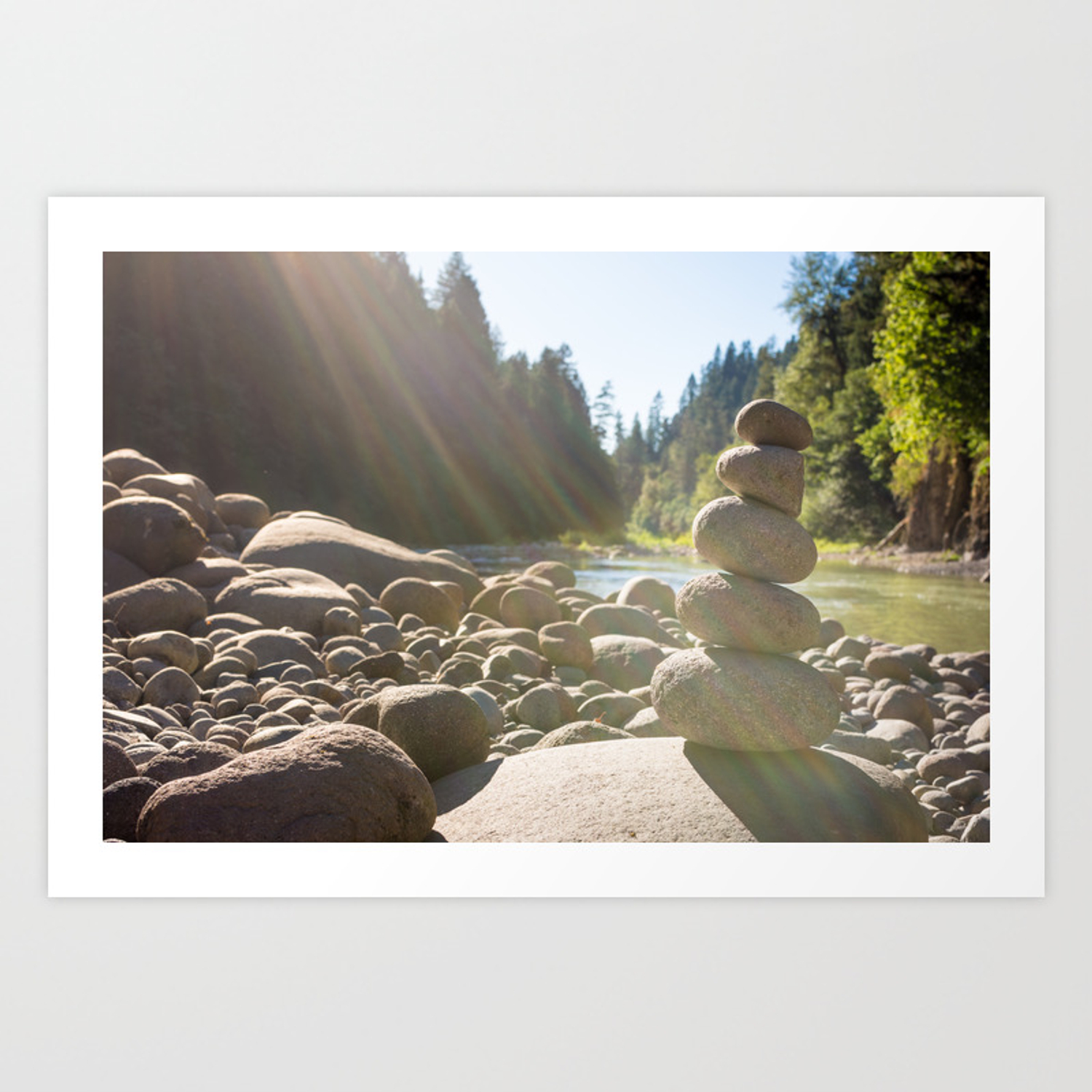 Cairn Of Stacked Rocks Along Banks Of Oregon River Art Print By