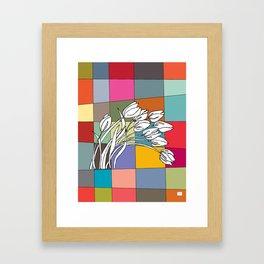 Tulips on Retro Mid Century Palette Background Framed Art Print