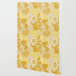 Yellow, Ivory & Brown Retro Floral Pattern Wallpaper