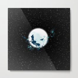 Flying Witch over Blue Moon Metal Print