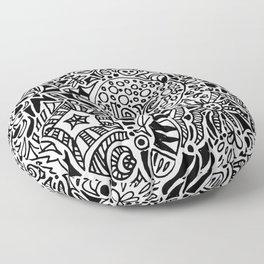 Love Zentangle in black and white Floor Pillow